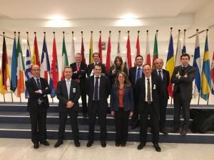 Javie del Río, foto de familia misión institucional en Bruselas